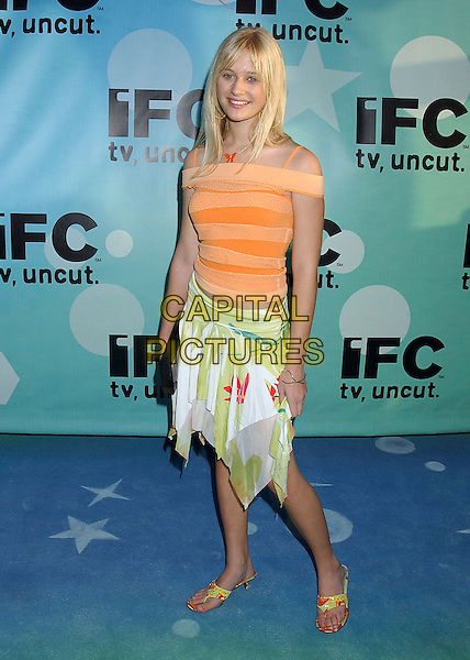 CARLY SCHROEDER.IFC's Post Spirit Awards Celebration held at Shutters on the Beach, Santa Monica, California, 26 February 2005..full length orange striped top.Ref: ADM.www.capitalpictures.com.sales@capitalpictures.com.©LFarr/AdMedia/Capital Pictures .