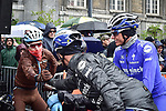 Romain Bardet (FRA) AG2R La Mondiale well wrapped up before the start of the 105th edition of Liège-Bastogne-Liège 2019, La Doyenne, running 256km from Liege to Liege, Belgium. 28th April 2019<br /> Picture: ASO/Gautier Demouveaux | Cyclefile<br /> All photos usage must carry mandatory copyright credit (© Cyclefile | ASO/Gautier Demouveaux)