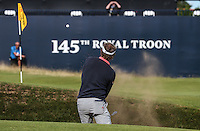 Joost Luiten (NED) plays from the bunker on the last during Round One of the 145th Open Championship, played at Royal Troon Golf Club, Troon, Scotland. 14/07/2016. Picture: David Lloyd | Golffile.<br /> <br /> All photos usage must carry mandatory copyright credit (&copy; Golffile | David Lloyd)