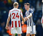 Darren Fletcher of Stoke City and Gareth Barry of West Bromwich Albion shake hands at the end of the match during the premier league match at the Hawthorn's Stadium, West Bromwich. Picture date 27th August 2017. Picture credit should read: Simon Bellis/Sportimage