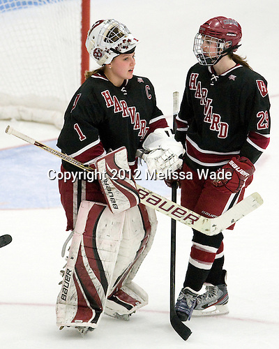Laura Bellamy (Harvard - 1), Elizabeth Parker (Harvard - 29) - The Boston University Terriers defeated the visiting Harvard University Crimson 2-1 on Sunday, November 18, 2012, at Walter Brown Arena in Boston, Massachusetts.