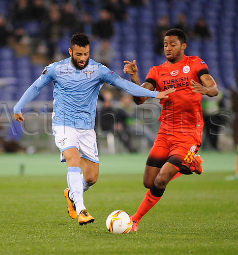 25.02.2016. Stadio Olimpico, Rome, Italy. Uefa Europa League, Return leg of SS Lazio versus Galatasaray. Felipe Anderson in action
