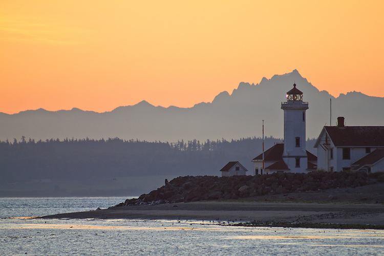 Port Townsend, Point Wilson lighthouse, Fort Worden State Park, Cascade Mountains, Washington State,  Olympic Peninsula, Pacific Northwest,  United States,