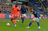 Huddersfield Town's Isaac Mbenza is closed down by Cardiff City's Joe Bennett<br /> <br /> Photographer Ian Cook/CameraSport<br /> <br /> The EFL Sky Bet Championship - Cardiff City v Huddersfield Town - Wednesday August 21st 2019 - Cardiff City Stadium - Cardiff<br /> <br /> World Copyright © 2019 CameraSport. All rights reserved. 43 Linden Ave. Countesthorpe. Leicester. England. LE8 5PG - Tel: +44 (0) 116 277 4147 - admin@camerasport.com - www.camerasport.com