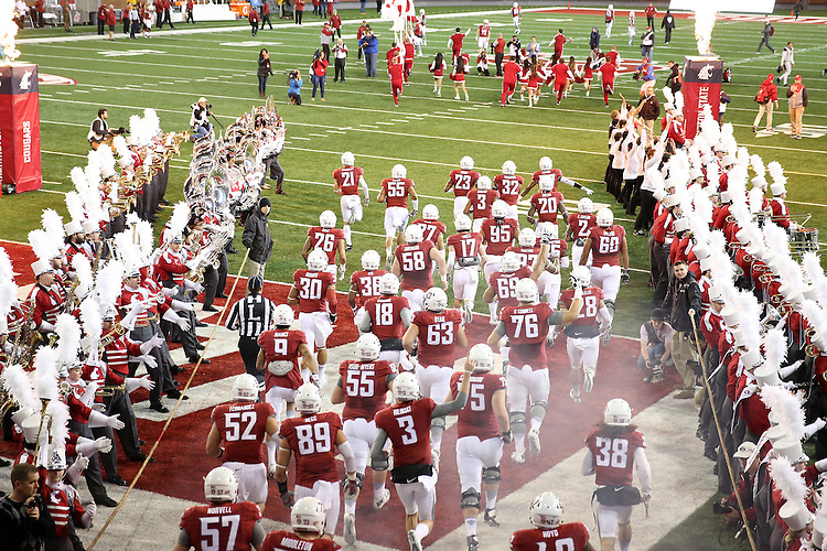 The Washington State Cougars come out of the tunnel prior to their Pac-12 Conference destruction of the Cal Bears, 56-21, on November 12, 2016, at Martin Stadium in Pullman, Washington.