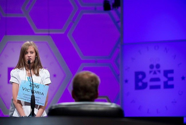 Speller 236 Victoria Alexis Epstein competes in the preliminary rounds of the Scripps National Spelling Bee at the Gaylord National Resort and Convention Center in National Habor, Md., on Wednesday,  May 30, 2012. Photo by Bill Clark