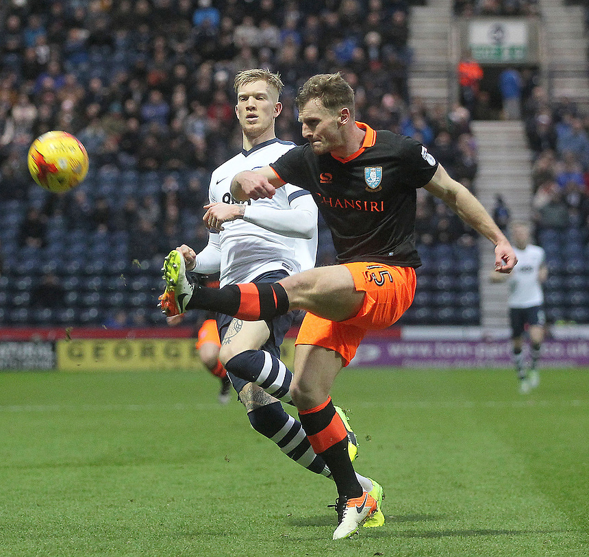 Preston North End's Simon Makienok battles with  Sheffield Wednesday's Tom Lees<br /> <br /> Photographer Mick Walker/CameraSport<br /> <br /> The EFL Sky Bet Championship - Preston North End v Sheffield Wednesday - Saturday 31st December 2016 - Deepdale - Preston<br /> <br /> World Copyright &copy; 2016 CameraSport. All rights reserved. 43 Linden Ave. Countesthorpe. Leicester. England. LE8 5PG - Tel: +44 (0) 116 277 4147 - admin@camerasport.com - www.camerasport.com