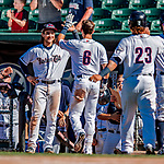 18 July 2018: New Hampshire Fisher Cats infielder Bo Bichette greets Cavan Biggio (6) at the dugout after Biggio comes home to score on his game-winning 2-run homer in the bottom of the 6th inning against the Trenton Thunder at Northeast Delta Dental Stadium in Manchester, NH. The Fisher Cats defeated the Thunder 3-2 in a 7-inning, second game of the day. Mandatory Credit: Ed Wolfstein Photo *** RAW (NEF) Image File Available ***