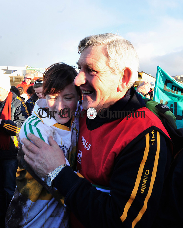 Goalkeeper Edel Mc Mahon and Manager Tom Mc Mahon celebrate the victory. Photograph by Declan Monaghan
