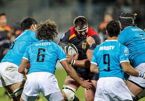 12.11.2016. Frankfurt, Germany. International rugby union friendly between Germany and Uruguay. Adriaan Theisinger (Germ) bursts into the Uruguay pack