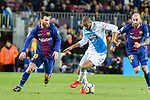 Lionel Messi of FC Barcelona (L) in action against Sidnei da Silva Junior of RC Deportivo La Coruna (R) during the La Liga 2017-18 match between FC Barcelona and Deportivo La Coruna at Camp Nou Stadium on 17 December 2017 in Barcelona, Spain. Photo by Vicens Gimenez / Power Sport Images