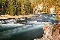 Yellowstone River just upstream from Lower Falls, Grand Canyon of the Yellowstone, Yellowstone National Park, Wyoming, USA