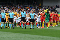 26 November 2017, Melbourne - Referee SANDRA STRUB, Assistant Referees BELINDA BREM, SUSANNE KÜNG, and Fourth Official ESTHER STAUBLI lead the teams onto the field for an international friendly match between the Australian Matildas and China PR at GMHBA Stadium in Geelong, Australia.. Australia won 5-1. Photo Sydney Low