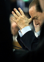 Il leader del Popolo della Liberta' Silvio Berlusconi durante l'incontro organizzato dalla Confartigianato a Roma, 27 marzo 2008..Leader of the People of Freedom center-right coalition Silvio Berlusconi during an electoral meeting organized by Confartigianato handicrafts organization in Rome, 27 march 2008..UPDATE IMAGES PRESS/Riccardo De Luca