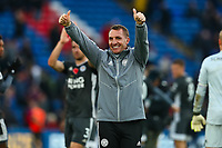 3rd November 2019; Selhurst Park, London, England; English Premier League Football, Crystal Palace versus Leicester City; Leicester City Manager Brendan Rogers celebrates the 0-2 win - Strictly Editorial Use Only. No use with unauthorized audio, video, data, fixture lists, club/league logos or 'live' services. Online in-match use limited to 120 images, no video emulation. No use in betting, games or single club/league/player publications