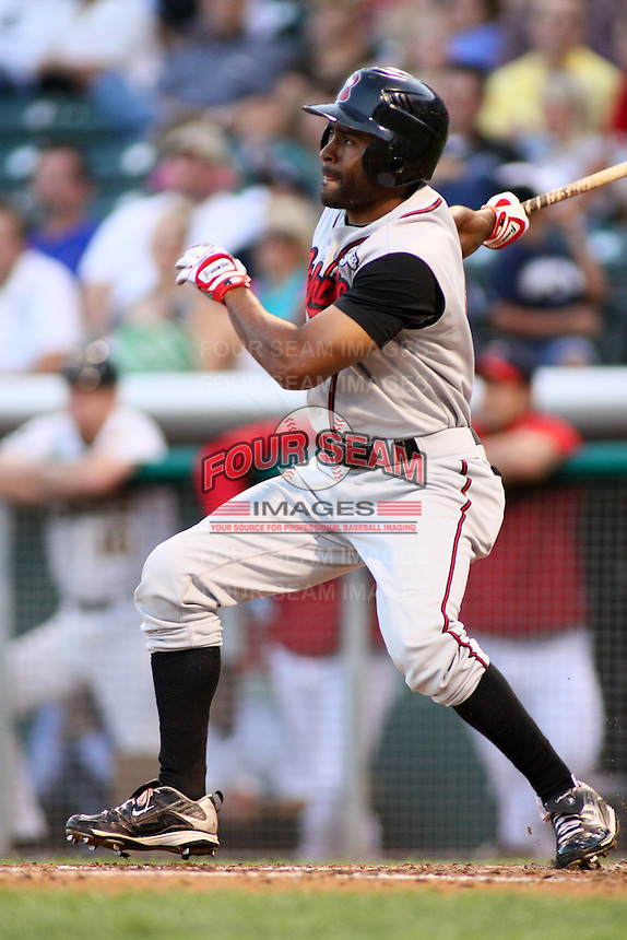 August 10, 2009: Cory Patterson of the Nashville Sounds, Pacific Cost League Triple A affiliate of the Milwaukee Brewers, during a game at the Spring Mobile Ballpark in Salt Lake City, UT.  Photo by:  Matthew Sauk/Four Seam Images
