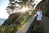 USA, California, Big Sur, Esalen, standing by the railing on the path that leads from the Lode to the Baths, the Esalen Institute