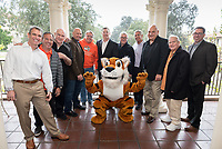 Members of the Football Action Team (and Ron Botchen) from left:<br /> Jeffrey Goldstein '86; David Meltzer '90; Bill Redell '64; Michael Tromello '05 M'06; John Castner '81; Chair of the Football Action Team Vance Mueller '86 P'16; Ron Botchen '57; Jim Mora '57; Phillip Anton '67; Larry Layne '71; head football coach Rob Cushman.<br /> Occidental College alumni, staff and other members of the Oxy community gather in support of the football program, March 10, 2018 on Branca Patio.<br /> In January 2018 a 16-member task force of trustees, faculty, students, staff and alumni met to determine the fate of the football program in the wake of the premature end of the 2017 season. The College is moving full speed ahead with preparations for the 2018 season, led by the Football Action Team.<br /> (Photo by Marc Campos, Occidental College Photographer)