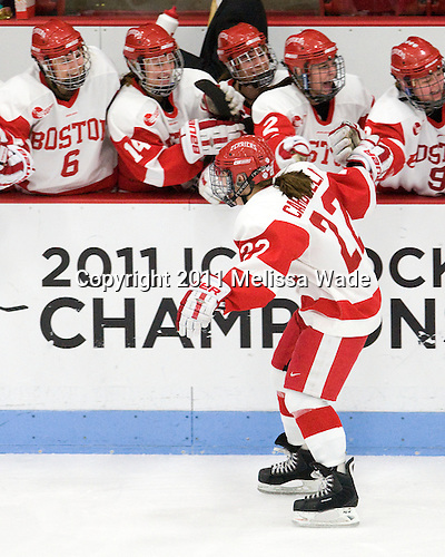 Jill Cardella (BU - 22) - The Boston University Terriers defeated the visiting Mercyhurst College Lakers 4-2 in their NCAA Quarterfinal matchup on Saturday, March 12, 2011, at Walter Brown Arena in Boston, Massachusetts.