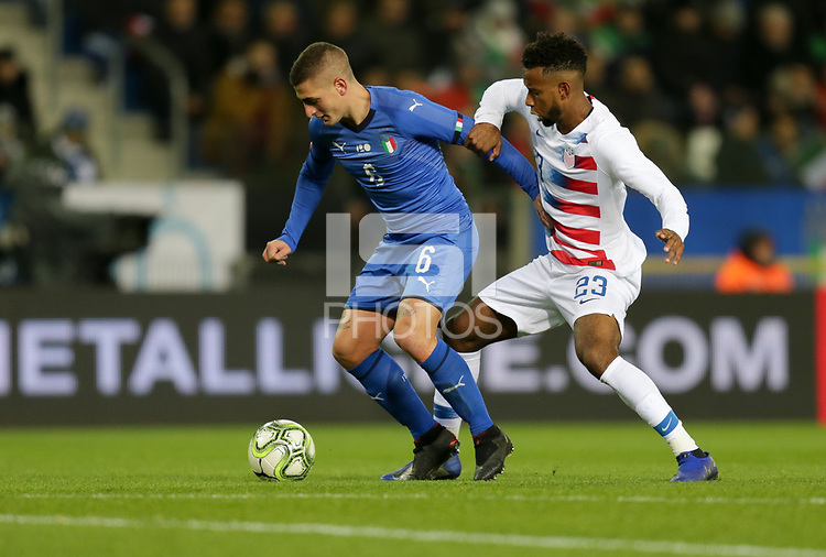Genk, Belgium - Tuesday November 20, 2018: The men's national teams of the United States (USA) and Italy (ITA) play in an international friendly game at Luminus Arena.