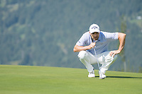Oliver Wilson (ENG) lines up his putt on the 7th hole during third round at the Omega European Masters, Golf Club Crans-sur-Sierre, Crans-Montana, Valais, Switzerland. 31/08/19.<br /> Picture Stefano DiMaria / Golffile.ie<br /> <br /> All photo usage must carry mandatory copyright credit (© Golffile | Stefano DiMaria)