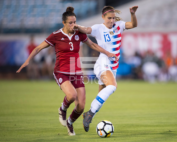 Jacksonville, FL - Thursday, April 05, 2018:  Bianca Sierra, Alex Morgan during a friendly match between USA and Mexico at EverBank Stadium.  USA defeated Mexico 4-1.