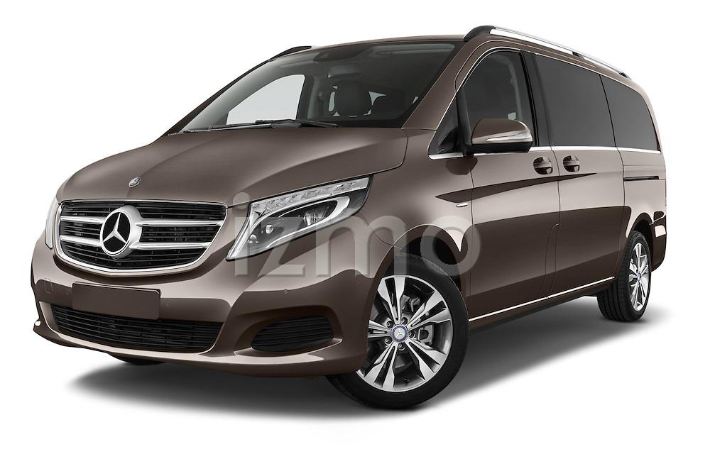 Stock pictures of low aggressive front three quarter view of a 2015 Mercedes Benz V-CLASS AVANTGARDE 5 Door Minivan 2WD Low Aggressive