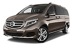 Stock pictures of low aggressive front three quarter view of a 2015 Mercedes Benz V-CLASS AVANTGARDE 5 Door Minivan 2WD Low Aggressive