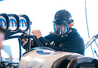 Feb 7, 2020; Pomona, CA, USA; Crew member for NHRA top fuel driver Leah Pruett during qualifying for the Winternationals at Auto Club Raceway at Pomona. Mandatory Credit: Mark J. Rebilas-USA TODAY Sports