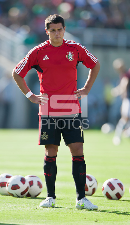 PASADENA, CA – June 25, 2011: Mexico player Javier Hernandez (14) before the Gold Cup Final match between USA and Mexico at the Rose Bowl in Pasadena, California. Final score USA 2 and Mexico 4.