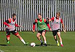 Kieron Freeman Matt Done and Louis Reed of Sheffield Utd during the Sheffield Utd training session at the Shirecliffe Training Complex , Sheffield. Picture date: September 29th, 2016. Pic Simon Bellis/Sportimage