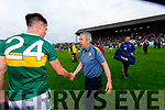 Kerry Manager Peter Keane with Jack Barry, Kerry after the Football All-Ireland Senior Championship Quarter-Final Group 2 Phase 3 match between Kerry and Meath at Páirc Tailteann, Navan on Saturday.