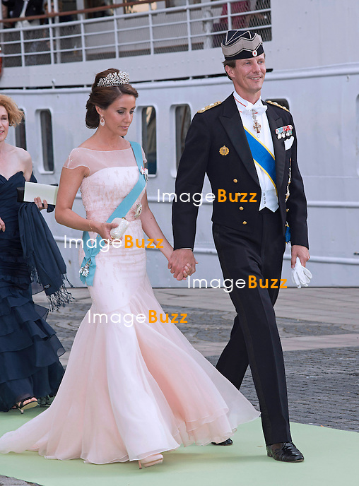 PRINCE JOACHIM AND PRINCESS MARIE OF DENMARK<br /> arrive for a boat ride to Drottingholm Palace for the Wedding Banquet Riddarholmen, Stockholm, Sweden_08/06/2013<br /> Princess Madeleine married Christopher O'Neill at the Royal Chapel, Royal Palace in Stockholm