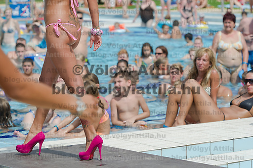 Noemi Szidol attends the Miss Bikini Hungary beauty contest held in Budapest, Hungary on August 06, 2011. ATTILA VOLGYI
