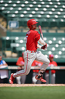 Philadelphia Phillies Madison Stokes (15) follows through on a swing during a Florida Instructional League game against the Baltimore Orioles on October 4, 2018 at Ed Smith Stadium in Sarasota, Florida.  (Mike Janes/Four Seam Images)