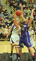 NWA Democrat-Gazette/MICHAEL WOODS &bull; @NWAMICHAELW<br /> Prairie Grove vs Berryville during the girls 4A-1 District Tournament in Prairie Grove Saturday February 20, 2016.  Visit nwadg.com/photos to see more photographs from the game.