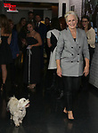 """Glenn Close with her dog Pip attend the Opening Night Celebration for """"Mother of the Maid"""" on October 18, 2018 at the Public Theatre in New York City."""