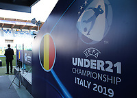 Belgium banner UEFA Under 21 Championship Italy 2019<br /> Reggio Emilia 16-06-2019 Stadio Città del Tricolore <br /> Football UEFA Under 21 Championship Italy 2019<br /> Group Stage - Final Tournament Group A<br /> Poland - Belgium<br /> Photo Cesare Purini / Insidefoto