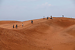 A group of tourists is followed by villagers who rent homemade sleds to ride down the red dunes near Mui Ne, Vietnam. Nov. 11, 2011.