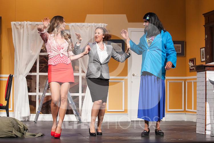 Actors Andoni Ferreno, Vanesa Romero and Esperanza Elipein perform `El Clan de las Divorciadas´ theater play in Madrid, Spain. August 19, 2015. (ALTERPHOTOS/Victor Blanco)