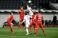 30th July 2020; Bankwest Stadium, Parramatta, New South Wales, Australia; A League Football, Adelaide United versus Perth Glory; Kristian Opseth of Adelaide United and Alex Grant of Perth Glory challenge for a header