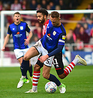 Crewe Alexandra's George Ray shields the ball from Lincoln City's Bruno Andrade<br /> <br /> Photographer Andrew Vaughan/CameraSport<br /> <br /> The EFL Sky Bet League Two - Lincoln City v Crewe Alexandra - Saturday 6th October 2018 - Sincil Bank - Lincoln<br /> <br /> World Copyright &copy; 2018 CameraSport. All rights reserved. 43 Linden Ave. Countesthorpe. Leicester. England. LE8 5PG - Tel: +44 (0) 116 277 4147 - admin@camerasport.com - www.camerasport.com