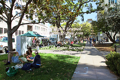 Early Fall in Berkeley CA next to the downtown park finds local harvest and homemade food at the street fair and farmer's market.  It brings out families with their babies to play in the park, and enjoy delicacies like roasted corn on the cob.  It is a multicultural event with all ethic foods enjoyed by all ages.