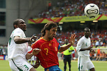 23 June 2006: Raul (ESP) (7) heads the ball in front of Redha Tukar (KSA) (3). Spain defeated Saudi Arabia 1-0 at Fritz-Walter Stadion in Kaiserslautern, Germany in match 47, a Group H first round game, of the 2006 FIFA World Cup. With the win, Spain goes through as the top team in Group H, while Saudi Arabia is eliminated with the loss.