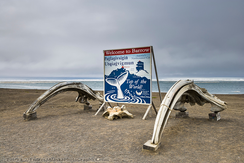 Welcome to Barrow, Alaska sign, Arctic ocean in the background.