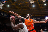 VALENCIA, SPAIN - JANUARY 6: Fernando San Emeterio, Sofoklis Schortsanitis during EUROCUP match between Valencia Basket and PAOK Thessaloniki at Fonteta Stadium on January 6, 2015 in Valencia, Spain