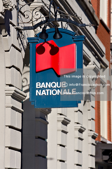 A Banque Nationale (National bank) sign is pictured on a building on St-Joseph steet in Quebec City. (The CANADIAN PRESS PHOTO/Francis Vachon)