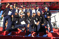 At the presentation after the Singles matches at the Ryder Cup, Hazeltine National Golf Club, Chaska, Minnesota, USA.  02/10/2016<br /> Picture: Golffile   Fran Caffrey<br /> <br /> <br /> All photo usage must carry mandatory copyright credit (&copy; Golffile   Fran Caffrey)
