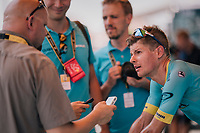Jakob Fuglsang (DEN/Astana) interviewed during warm-down after the stage<br /> <br /> Stage 1: Noirmoutier-en-l'&Icirc;le &gt; Fontenay-le-Comte (189km)<br /> <br /> Le Grand D&eacute;part 2018<br /> 105th Tour de France 2018<br /> &copy;kramon