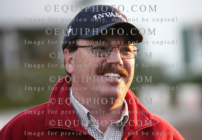 Trainer Kiaran McLaughlin talks about his 2006 Horse Of The Year Invasor outside his barn at Palm Meadows Training Center in Boynton Beach, Florida on Friday morning March 9, 2007 after Invasor's workout in preparation for the March 31, 2007 $6 million Emirates Airline Dubai World Cup at Nad Al Sheba Racecourse in Dubai, United Arab Emirates.  Photo By Bill Denver/EQUI-PHOTO.